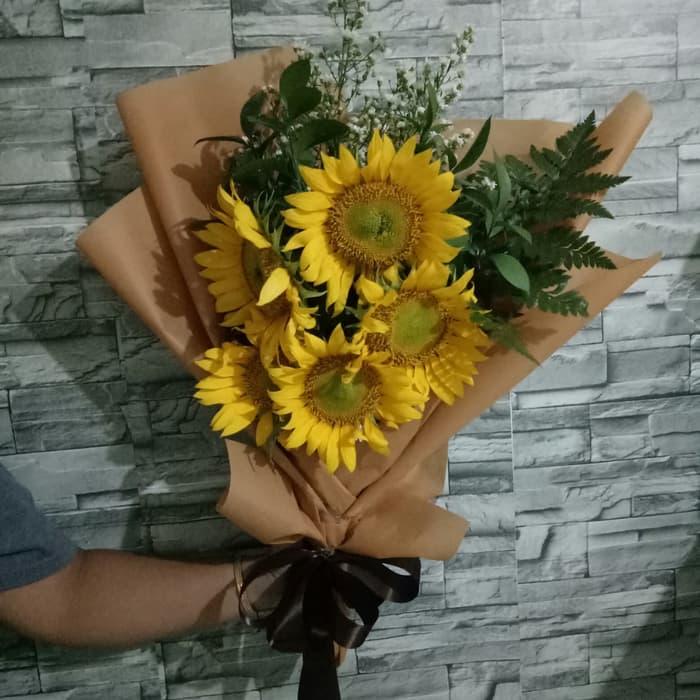 hand bouquet bunga matahari simple minimalis zaenflorist code zn 04