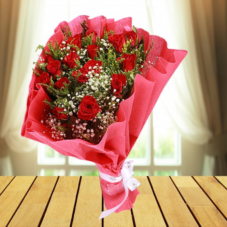 hand bouquet mawar merah kombinasi pink zaenfloris code zn 03