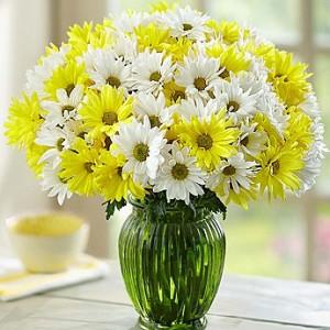 karangan bunga hiasan rumah kuning zaenflorist Code Zn 12