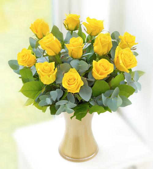 karangan bunga hiasan rumah kuning zaenflorist Code Zn 14