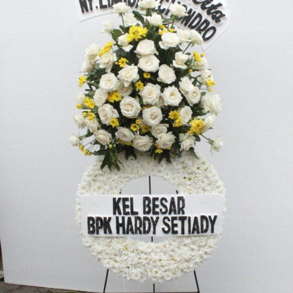 standing flower duka cita tema putih kuning zaenflorist code zn 05