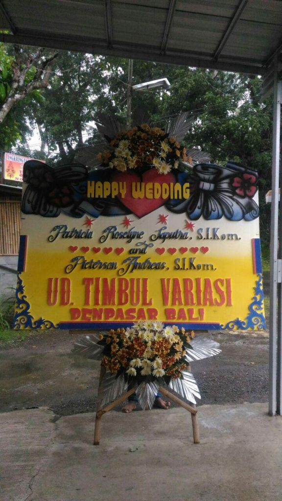 papan-karangan-bunga-happy-wedding-minimaliost-zaenflorist-code-zn-165