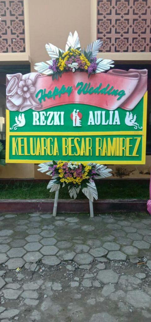 papan-karangan-bunga-happy-wedding-simple-green-zaenflorist-code-zn-187