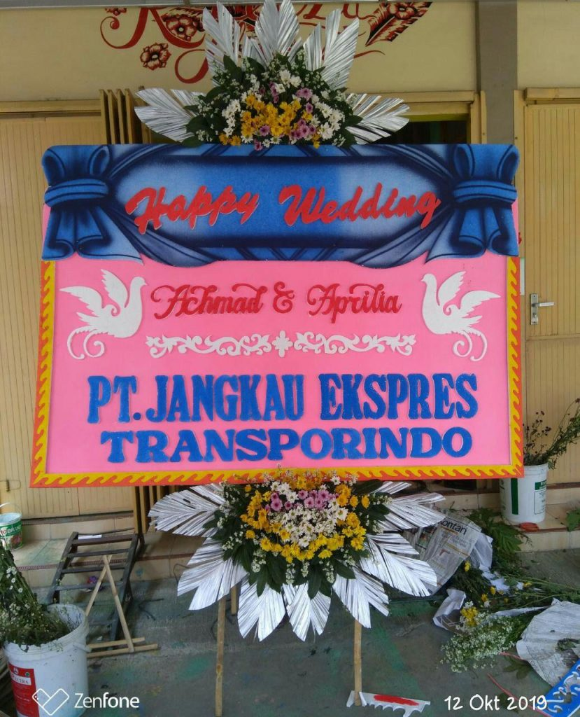 papan-karangan-bunga-happy-wedding-zaenflorist-code-zn-129